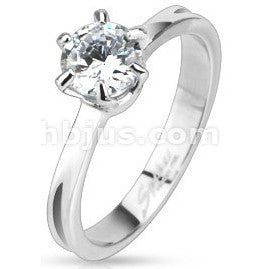 Stainless Classic CZ Solitaire Ring