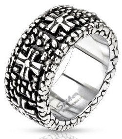 Stainless Continuous Pebbles & Crosses Ring