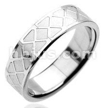 Stainless Criss Cross Pattern Ring