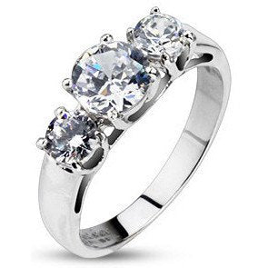 CZ Triple Prong Set Ring