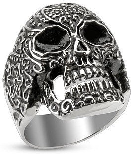 Stainless Day of the Dead Skull Ring