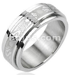 Stainless Double Dragon Spinner Ring