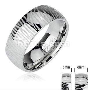 Stainless Engraved Zebra Pattern Ring