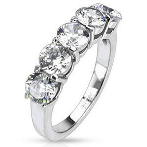Five Oval CZ Prong-set Ring