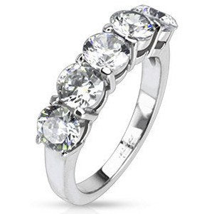 Stainless Five Oval CZ Prong-set Ring
