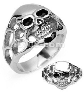Stainless Flaming Skull Ring