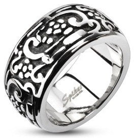 Finger Rings - Flowers & Swirls Patterned Ring