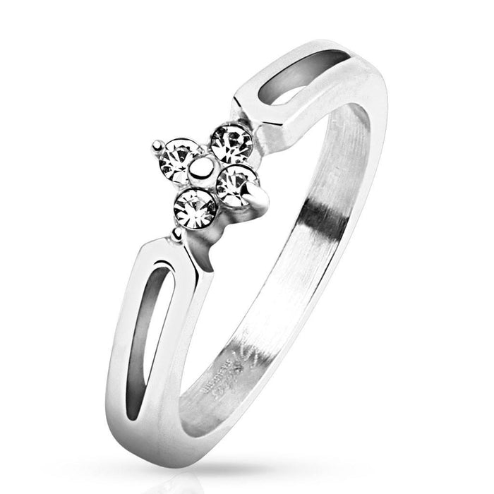Stainless Four CZ Flower Ring