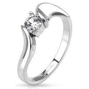 Framed Twist CZ Solitaire Ring