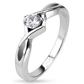 Stainless Knotted Frame CZ Solitaire Ring
