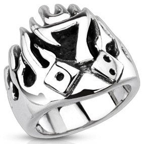 Stainless Lucky Seven Flaming Dice Ring