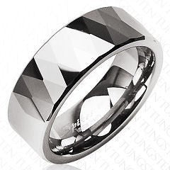 Tungsten Multi-Faceted Prism Ring