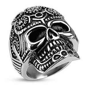 Pentagram Gear Skull Ring
