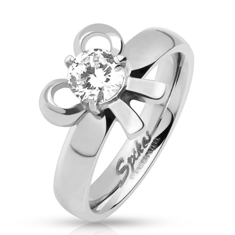 Pronged CZ Ribbon Ring