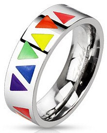 Stainless Rainbow Triangles Ring
