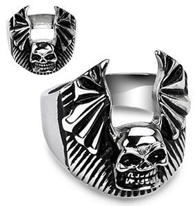 Stainless Skull Bat Wing Ring