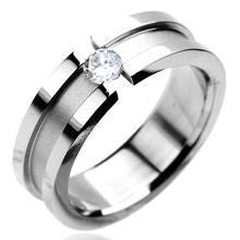 Stainless Steel CZ Center Ring