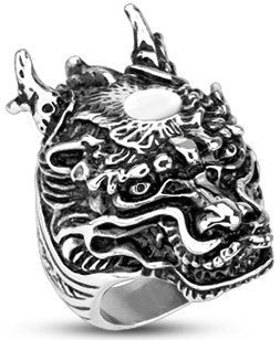 Stainless Steel Legendary Dragon Wide Cast Ring - Tulsa Body Jewelry