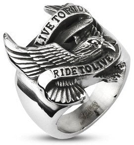 Finger Rings - Stainless Steel Live To Ride Ring