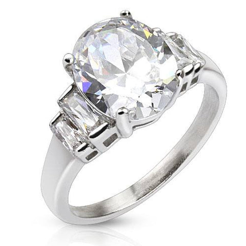 Stainless Steel Oval CZ Ring