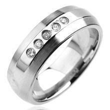 Stainless Steel Five CZ Ring