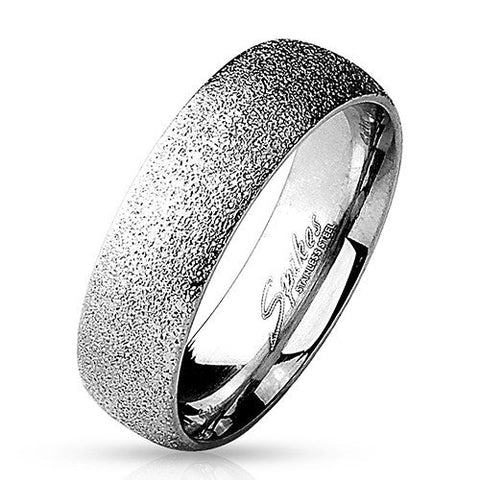 Stainless Steel Sand Sparkle Ring