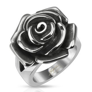 Finger Rings - Stainless Steel Single Rose Ring