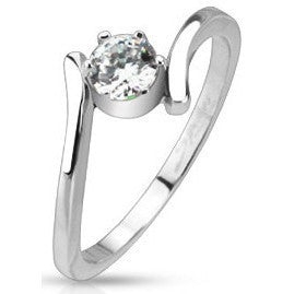 Swirl Wrapped CZ Solitaire Ring