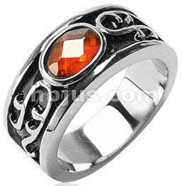 Stainless Synthetic Amber Stone Ring