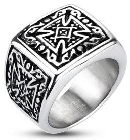 Tribal Decorated Celtic Cross Ring