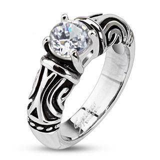 Stainless Tribal Decorative CZ Ring