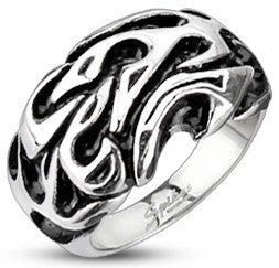 Stainless Tribal Flame Wave Ring
