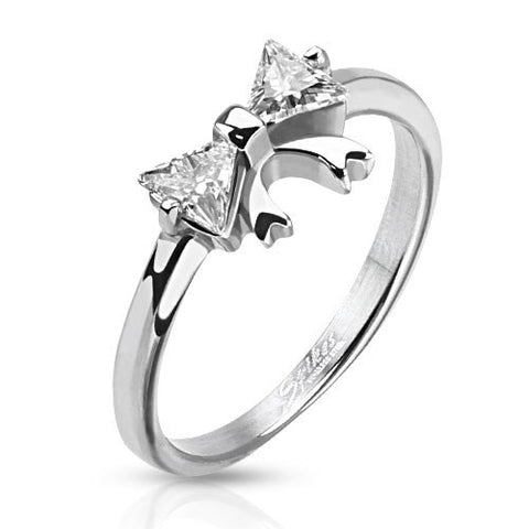 Trilliant Cut CZ Ribbon Ring