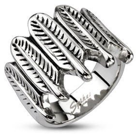 Stainless Vertical Feather Ring