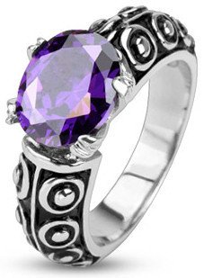 Stainless Violet Gem of the Sea Ring