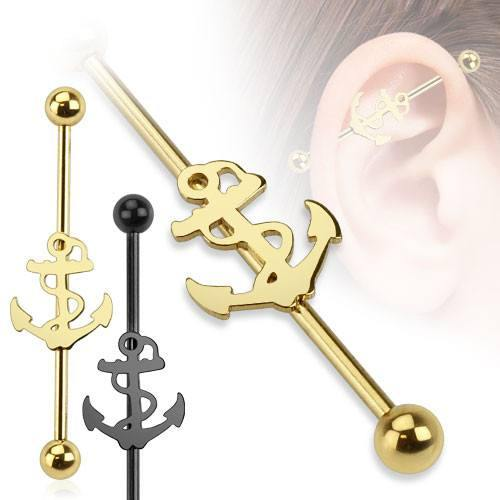 Industrials - 14g Nautical Anchor Industrial Barbell