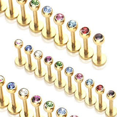 Labrets - 16g Gold Plated Labret W/ Faceted Gem Ball