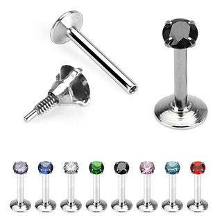 16g Stainless Steel Labret w/ 3mm Prong-set Gem