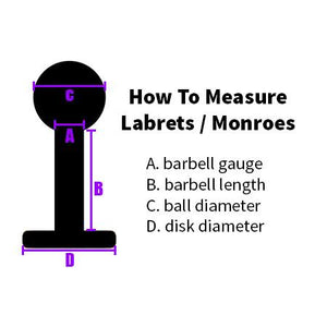 Labrets - 16g Stainless Steel Microgem Labret