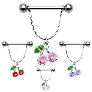 Nipple Jewelry - 14g Cherry Gem Nipple Stirrups