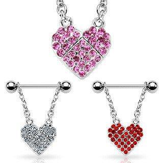 CZ Gem Heart Nipple Stirrups