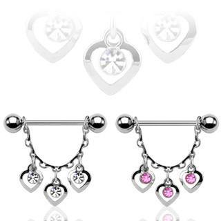 Nipple Jewelry - CZ Heart Nipple Stirrups