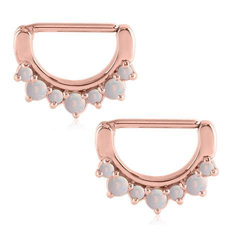 Opal Crown Rose Gold Nipple Clickers