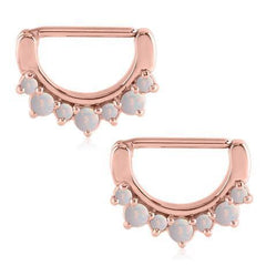 Nipple Jewelry - Opal Crown Rose Gold Plated Nipple Clickers