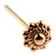 Nose - 14k Gold Beaded Indian Wheel Nostril Pin By BVLA