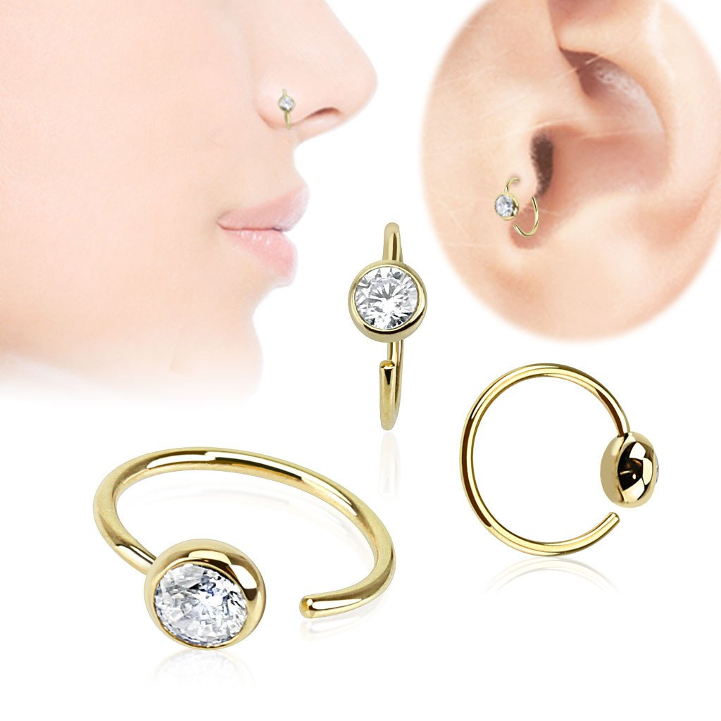 Nose - 14k Gold CZ Nose Hoop