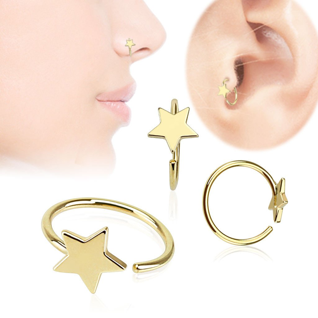 14k Gold Star Nose Hoop Tulsa Body Jewelry