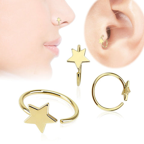 Nose - 14k Gold Star Nose Hoop
