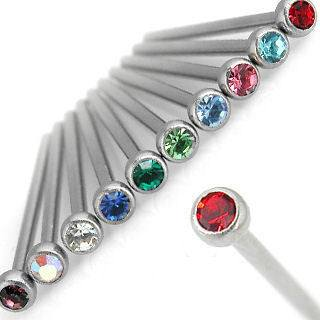 18g Bezel-set Gem Unbent Nostril Pin