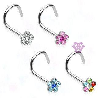Gem Flower Nostril Screw